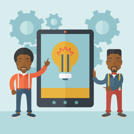 using tablet: A two african businessmen standing while holding a big screen tablet with bulb icon a computer tablet perspective view strategy marketing. Business concept. A Contemporary style with pastel palette, soft blue tinted background. Vector flat design illustra