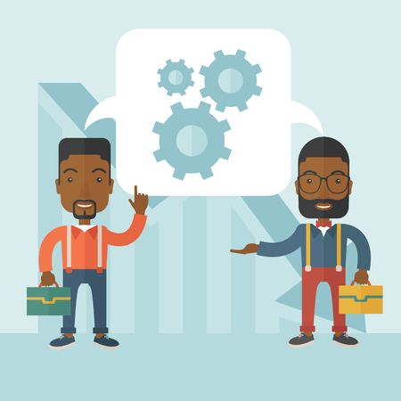african business: Two black men carrying bags thinking a new business in logistics. Brainstorming, speech bubble gears. Teamwork concept. A Contemporary style with pastel palette, soft blue tinted background. Vector flat design illustration. Square layout.
