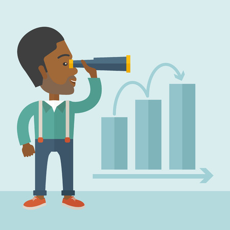 growing business: An african businessman standing using binocular to look over the graph that shows increasing in slaes. Growing business concept. A Contemporary style with pastel palette, soft blue tinted background. Vector flat design illustration. Square layout.