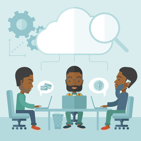 discussing: Three outstanding black employees discussing and sharing brilliant ideas, gathering information, preparing for their marketing plan presentation using their laptops. Teamwork concept. A Contemporary style with pastel palette, soft blue tinted background.