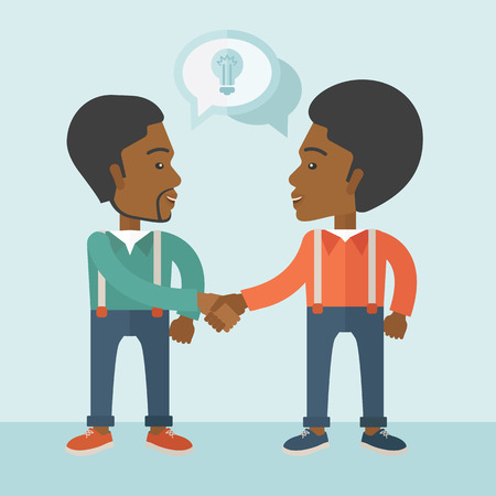 business partnership: A two Afircan-american guys standing facing each other handshaking for the successful business deal. Business partnership concept. A Contemporary style with pastel palette, soft blue tinted background. Vector flat design illustration. Square layout.