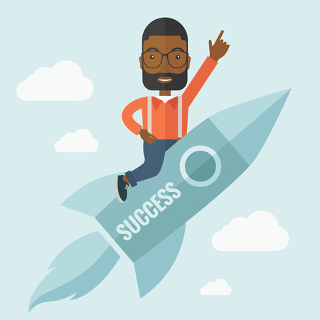 flying man: A black man flying on the rocket raising his hand in the air as his start up. Success concept. A Contemporary style with pastel palette, soft blue tinted background with desaturated clouds. Vector flat design illustration. Square layout. Illustration
