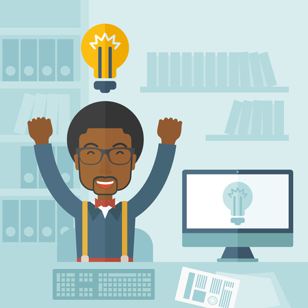 enjoyment: A young black guy is happy raising his two hands getting an idea through computer internet inside his office. Successful concept. A Contemporary style with pastel palette, soft blue tinted background. Vector flat design illustration. Square layout.