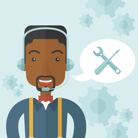 african business: An african operator with headset as customer service helpdesk with screwdriver and combination wrench inside bubble. Call center concept. A Contemporary style with pastel palette, soft blue tinted background. Vector flat design illustration. Square layout
