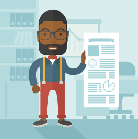 happy black man: A happy black man standing inside his office showing his complete paper works report on time. Achievemnet concept. A Contemporary style with pastel palette, soft blue tinted background. Vector flat design illustration. Square layout. Illustration
