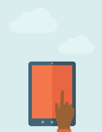 using tablet: A Hand touching blank screen of tablet computer. A Contemporary style with pastel palette, soft blue tinted background with desaturated clouds. Vector flat design illustration. Vertical layout.