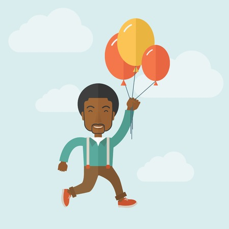 flying man: A young black man is flying in blue sky holding group of colored balloons. Freedom concept. A Contemporary style with pastel palette, soft blue tinted background with desaturated clouds. Vector flat design illustration. Square layout.