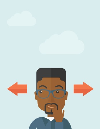 black men: Black man thinking which way to go left or right arrows. Choosing concept.  A Contemporary style with pastel palette, soft blue tinted background with desaturated clouds.. Vector flat design illustration. Vertical layout.