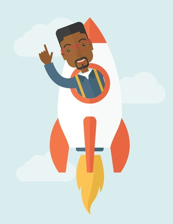 beginnings: A Young black guy inside the rocket on launch of space. Startup concept. A Contemporary style with pastel palette, soft blue tinted background with desaturated clouds. Vector flat design illustration. Vertical layout. Illustration