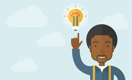 desaturated: A happy black guy raising his hand pointing the bulb having a good idea for business. Business concept. A Contemporary style with pastel palette, soft blue tinted background with desaturated clouds. Vector flat design illustration. Horizontal layout. Illustration