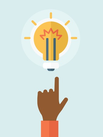 A finger pointer and light bulb. Idea concept. A Contemporary style with pastel palette, soft blue tinted background. Vector flat design illustration. Vertical layout.