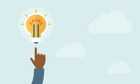 desaturated: A finger pointer and light bulb. Idea concept. A Contemporary style with pastel palette, soft blue tinted background with desaturated clods. Vector flat design illustration. Horizontal layout.