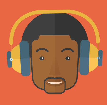 A Happy black young guy listening to music with headphones. Happy concept. A Contemporary style with pastel palette, orange tinted background. Vector flat design illustration. Square layout. Ilustração