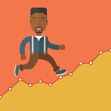 hard work ahead: A black Businessman runs up the hill. A Contemporary style with pastel palette, orange tinted background. Vector flat design illustration. Square layout.