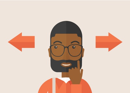 way to go: Black man thinking which way to go left or right arrows. Choosing concept.  A Contemporary style with pastel palette, soft pink tinted background. Vector flat design illustration. Horizontal layout.