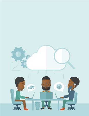 brilliant ideas: Three outstanding black employees discussing and sharing brilliant ideas, gathering information, preparing for their marketing plan presentation using their laptops. Teamwork concept. A Contemporary style with pastel palette, soft blue tinted background.