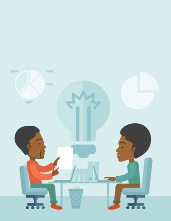 A Two African businessmen sitting working together getting a brilliant ideas from internet using their laptop. A Contemporary style with pastel palette, soft blue tinted background. Vector flat design illustration. Vertical layout with text space on top p