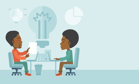 brilliant ideas: A Two African businessmen sitting working together getting a brilliant ideas from internet using their laptop. A Contemporary style with pastel palette, soft blue tinted background. Vector flat design illustration. Horizontal layout with text space in rig