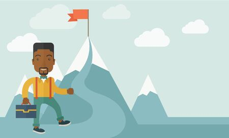 climbing mountain: An african businessman holding his bag will climb up to top of the mountain to achieve success by holding the red flag. Willingness, leadership concept. A Contemporary style with pastel palette, soft blue tinted background with desaturated clouds. Vector
