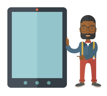 big screen: A black businessmen standing while holding a big screen a computer tablet perspective view strategy marketing. Business concept. A Contemporary style. Vector flat design illustration with isolated white background. Square layout Illustration
