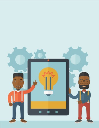 key pad: A two african businessmen standing while holding a big screen tablet with bulb icon a computer tablet perspective view strategy marketing. Business concept. A Contemporary style with pastel palette, soft blue tinted background. Vector flat design illustra