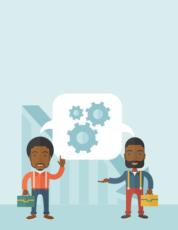 Two black men carrying bags thinking a new business in logistics. Brainstorming, speech bubble gears. Teamwork concept. A Contemporary style with pastel palette, soft blue tinted background. Vector flat design illustration. Vertical layout with text space Ilustração