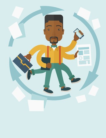 A multitasking job is a man with many hands with successful planning elements, can handle many paper works. Time management concept. A Contemporary style with pastel palette, soft blue tinted background. Vector flat design illustration. Vertical layout.