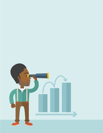 forward: An african businessman standing using binocular to look over the graph that shows increasing in slaes. Growing business concept. A Contemporary style with pastel palette, soft blue tinted background. Vector flat design illustration. Vertical layout with t