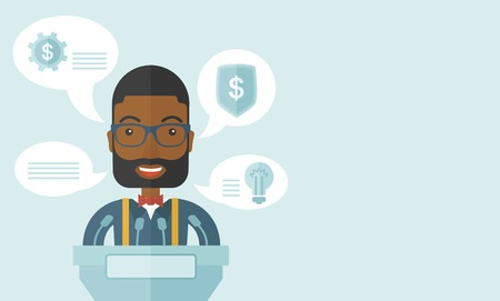 reporting: A black speaker stands behind a podium with microphones makes a business report  and marketing strategy inside the conference room. Presentation, reporting concept. A Contemporary style with pastel palette, soft blue tinted background. Vector flat design