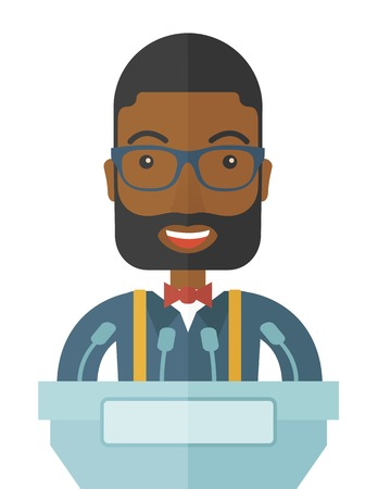 conference speaker: A black speaker stands behind a podium with microphones makes a business report  and marketing strategy inside the conference room. Presentation, reporting concept. A Contemporary style. Vector flat design illustration with isolated white background. Vert
