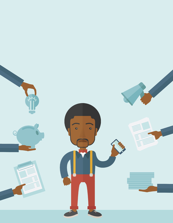 tinted: Black Man with smartphone in hand has a lot of of task and paperwork suitable for time management business concept. A Contemporary style with pastel palette, soft blue tinted background. Vector flat design illustration. Vertical layout with text space on  Illustration