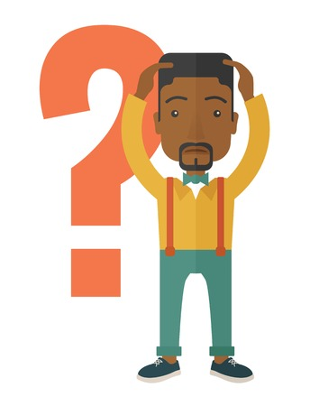 A black businessman with a problem standing scratching his head with question marks beside him. A contemporary style. Vector flat design illustration with isolated white background. Vertical layout. Illustration