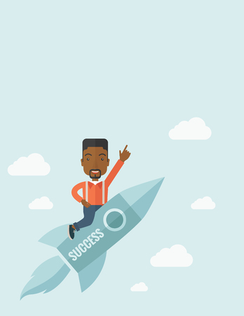 wit: A black man with a beard flying on the rocket raising his hand in the air as his start up. Success concept. A Contemporary style with pastel palette, soft blue tinted background with desaturated clouds. Vector flat design illustration. Vertical layout wit