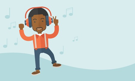 listener: A happy black young man dancing, singing while listening to music with headphones showing the notes at his back. Happy concept. A Contemporary style with pastel palette, soft blue tinted background. Vector flat design illustration. Horizontal layout with