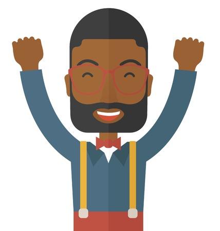 Een zwarte jonge man is blij met het heffen van zijn twee handen. Succesvol concept. Een eigentijdse stijl. Vector platte ontwerp illustratie met geïsoleerde witte achtergrond. Vierkante lay-out. Stock Illustratie