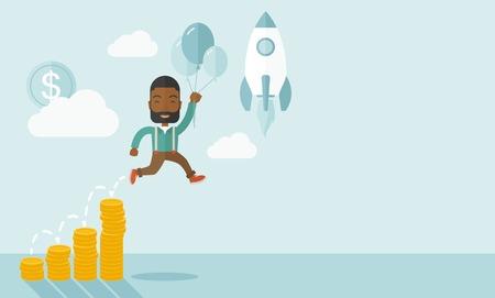 mosca caricatura: Un hombre de negocios africano sosteniendo globos volar alto con gr�fico de la moneda que muestra aumento en las ventas. Poner en marcha el concepto de negocio. Un estilo contempor�neo con la paleta de colores pastel, fondo te�ido azul suave con nubes desaturado. Vector dise�o plano ilustraci�n. Horiz Vectores