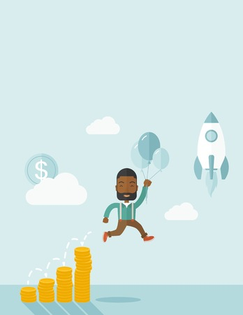 investment: An african Businessman holding balloons fly high with coin graph that shows increase in sales. Start up business concept. A Contemporary style with pastel palette, soft blue tinted background with desaturated clouds. Vector flat design illustration. Verti Illustration