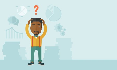 black male: An african businessman with a problem standing scratching his head with question mark on top of his head. Unhappy concept. A Contemporary style with pastel palette, soft blue tinted background. Vector flat design illustration. Horizontal layout with text  Illustration