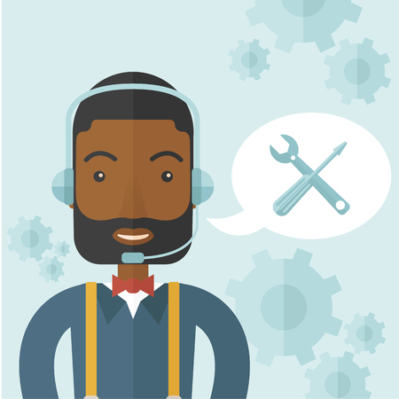 An african operator with headset as customer service helpdesk with screwdriver and combination wrench inside bubble. Call center concept. A Contemporary style with pastel palette, soft blue tinted background. Vector flat design illustration. Square layout