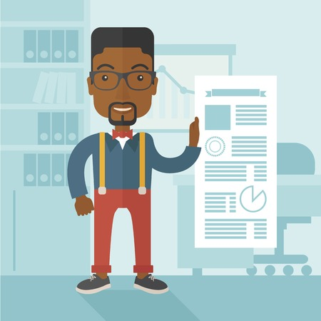 black blue: A happy black man standing inside his office showing his complete paper works report on time. Achievemnet concept. A Contemporary style with pastel palette, soft blue tinted background. Vector flat design illustration. Square layout. Illustration