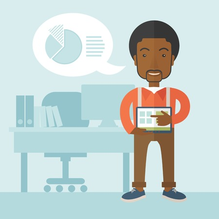 financial market: An african-american man standing while his hand pointing to the tablet to do his office presentation with the schedule of financial market. Business concept. A Contemporary style with pastel palette, soft blue tinted background. Vector flat design illustr