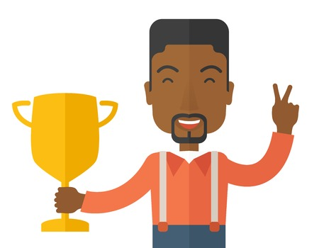 rewarded: An african businessman proudly holding up winning trophy. Winner concept. A contemporary style. Vector flat design illustration with isoloated white background. Horizontal layout.