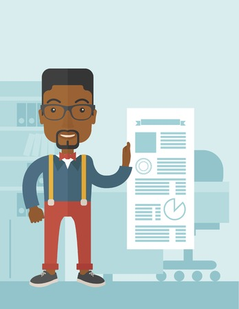 happy black man: A happy black man standing inside his office showing his complete paper works report on time. Achievemnet concept. A Contemporary style with pastel palette, soft blue tinted background. Vector flat design illustration. Vertical layout with text space on t Illustration