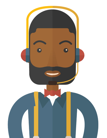 An operator man with headset customer service helpdesk service. Call center concept. A contemporary style. Vector flat design illustration with isolated white background. Vertical layout. 版權商用圖片 - 41327572