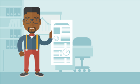 happy black man: A happy black man standing inside his office showing his complete paper works report on time. Achievemnet concept. A Contemporary style with pastel palette, soft blue tinted background. Vector flat design illustration. Horizontal layout with text space in Illustration