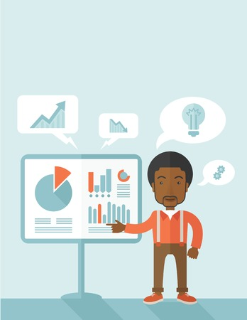 reporting: A black speaker presenting his report through infographics inside the conference room. Reporting concept. A Contemporary style with pastel palette, soft blue tinted background. Vector flat design illustration. Vertical layout with text space on top part. Illustration