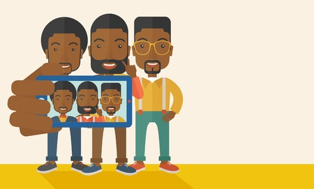 telephone cartoon: A three happy black men taking a selfie using smartphone. Photo concept. A Contemporary style with pastel palette, soft beige tinted background. Vector flat design illustration. Horizontal layout with text space in right side.