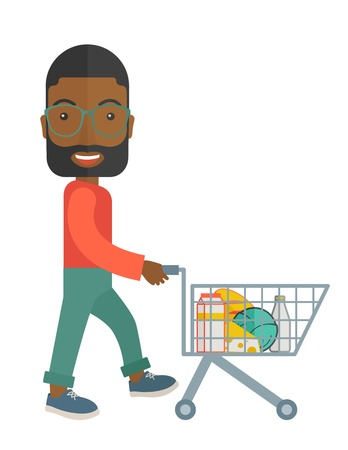men cartoon: A balck male shopper pushing a shopping cart inside the supermarket. A contemporary style. Vector flat design illustration with isolated white background. Vertical layout.