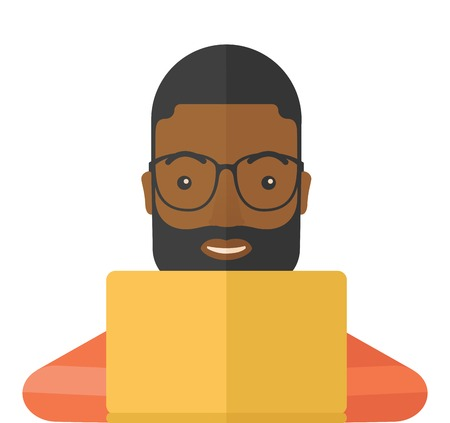 using laptop: Un uomo africano di effettuare un acquisto utilizzando il computer portatile con connessione internet negli acquisti online con lo sconto promozionale. Uno stile contemporaneo. Vector design piatto illustrazione con sfondo bianco isolato. Pianta quadrata.