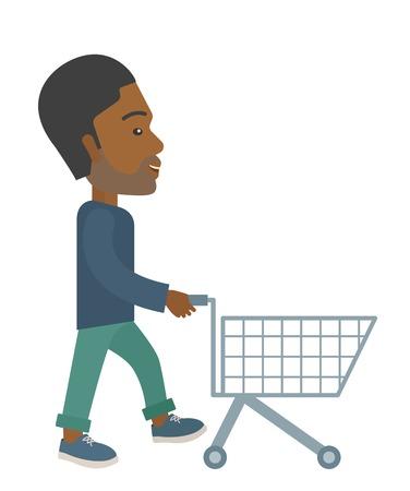空のカートを押してハンサムな黒人の男。現代的なスタイル。分離の白い背景を持つベクトル フラットなデザイン イラスト。縦のレイアウト